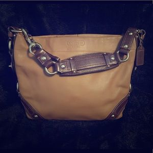 Dark brown and tan coach purse
